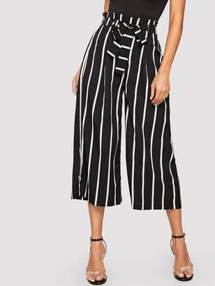 Shein Striped Frilled Waist With Belt Wide Leg Crop Pants