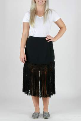 Monoreno Fitted Fringe Skirt