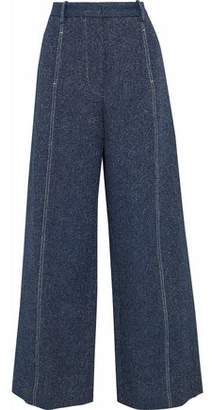 Rosetta Getty Marled Cotton And Linen-Blend Twill Wide-Leg Pants