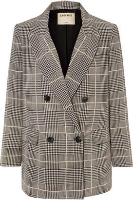 L'Agence Taryn Checked Silk-crepe Blazer - Black