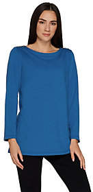 Susan Graver Weekend French Terry Tunic withButton Detail