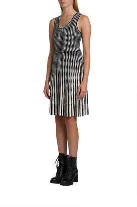 MICHAEL Michael Kors Geometric Grid Stretch-knit Pleated Dress