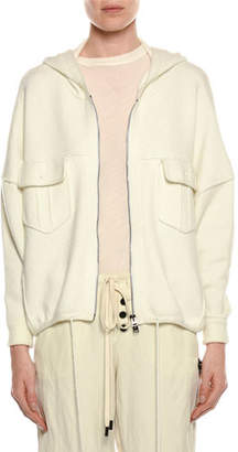 Tom Ford Compact Knit Zip-Front Hoodie Sweater