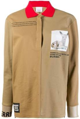 Burberry Long-sleeve Montage Print Cotton Polo Shirt