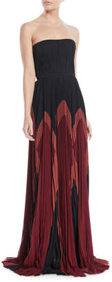 J. Mendel Strapless Plisse Silk Colorblock Gown