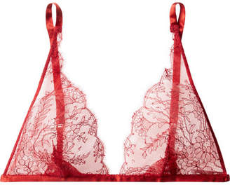 Carine Gilson Silk Satin-trimmed Chantilly Lace Soft-cup Triangle Bra - Red