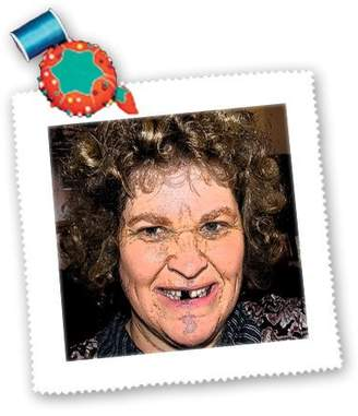 3dRose qs_52577_5 Jos Fauxtographee Holiday - A Curly Haired Toothless Costume on a Woman for Halloween - Quilt Squares