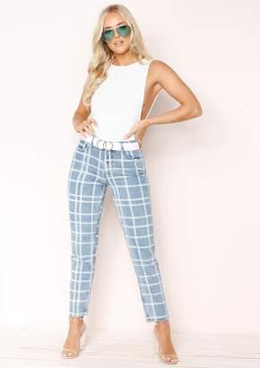 d854d6cbc5 Missy Empire Missyempire Chelsea Denim Checked Jeans