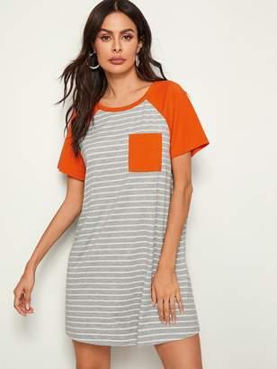 Shein Striped Color-block Raglan Sleeve T-shirt Dress