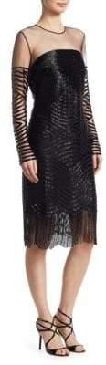 Naeem Khan Illusion Mesh Cocktail Dress