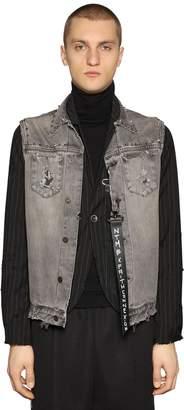 Faith Connexion Pinstripe Wool Twill Jacket W/Denim Vest