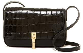 Elizabeth and James Cynnie Croc Embossed Leather Flap Crossbody