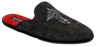 Dolce & Gabbana Men's Da Camera Jacquard Slippers with Crystal Cross