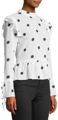 Free Generation Polka-Dot Peplum Long-Sleeve Blouse