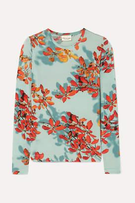 Dries Van Noten Hatik Floral-print Stretch-jersey Top - Turquoise