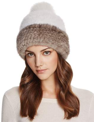 Maximilian Furs Fox Fur Pom-Pom & Mink Fur Beanie - 100% Exclusive