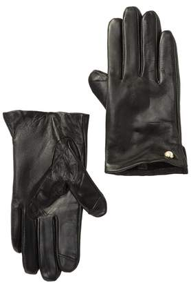 Fownes Bros Pearl Trim Faux Fur Lined Leather Gloves