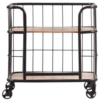 Laurèl Foundry Modern Farmhouse Lorient Industrial Wood and Metal Trolley Bar Cart
