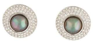 Christian Dior Faux Pearl & Crystal Clip-On Earrings