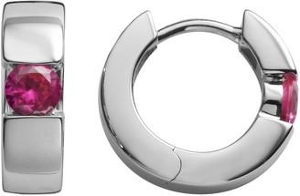 Sterling Silver Lab-Created Ruby Hoop Earrings