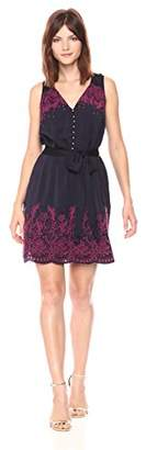 Juicy Couture Black Label Women's Flirty Contrast Embroidered Woven Dress