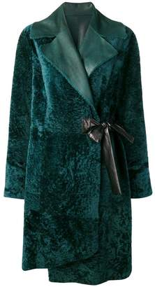 Drome lamb fur wrap coat