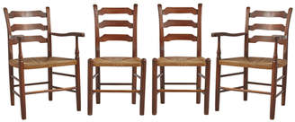 Rejuvenation Set of 4 Hickory Ladder Back Dining Chairs w/ Rush Seats