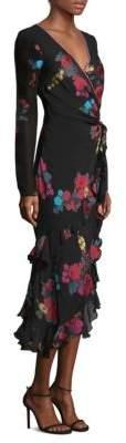 Etro Embroidered Long Sleeve Flutter Dress