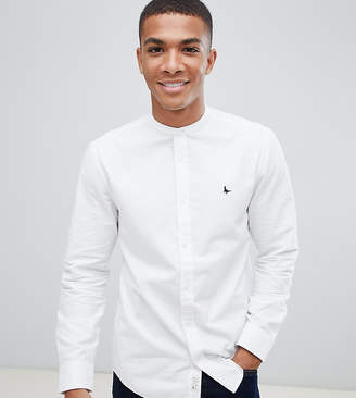 Jack Wills Heton skinny fit grandad collar shirt in white