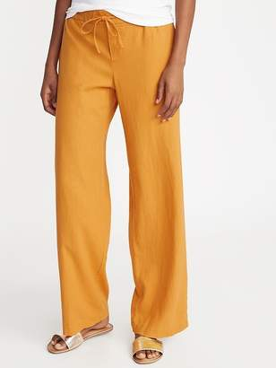 Old Navy Mid-Rise Wide-Leg Linen-Blend Pull-On Pants for Women