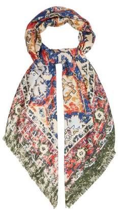 Acne Studios Tapestry Print Silk Scarf - Womens - Green