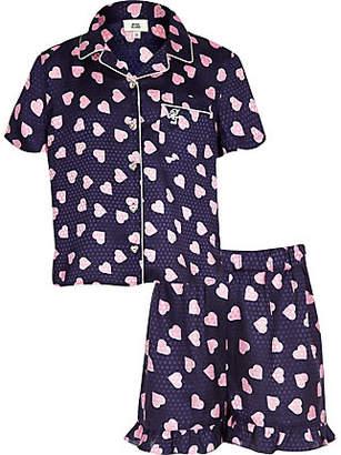 River Island Girls navy heart print pajama set