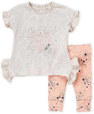 Jessica Simpson Newborn Girls) Two-Piece Ruffle Heart Top & Pants Set