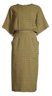 Derek Lam Women's Wool-Blend Plaid Midi Dress - Yellow Multi - Size 38 (2)