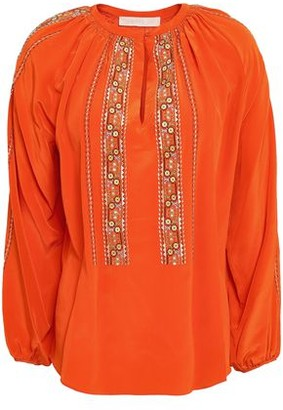 Vanessa Bruno Gathered Embroidered Silk Blouse
