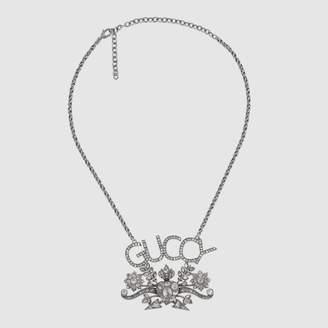Gucci Guccy crystal pendant necklace