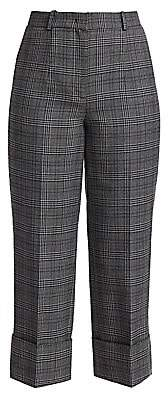 Michael Kors Women's Cropped Plaid Wool Cuffed Pants - Size 0