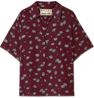 Marni Floral-print Silk-crepe Shirt - Burgundy