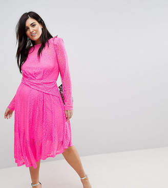Asos Neon Lace Asymmetric Hem Midi Dress