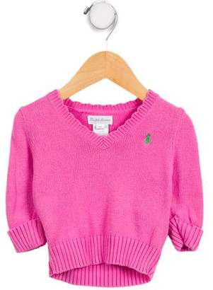 Ralph Lauren Girls' Embroidered V-Neck Sweater