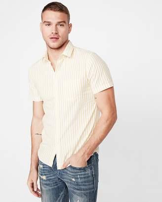 Express Slim Striped Button Collar Short Sleeve Shirt