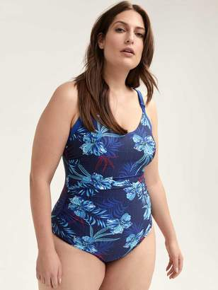 Printed One-Piece Swimsuit with Criss-Cross Detail - Sea