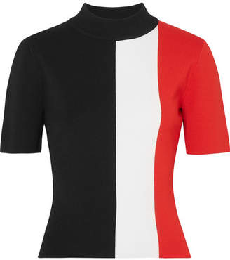 SOLACE London Clari Color-block Stretch-knit Top - Black