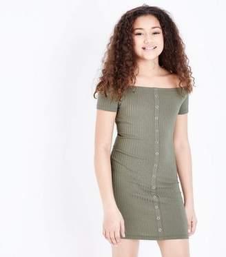 New Look Teens Khaki Ribbed Bardot Neck Bodycon Dress