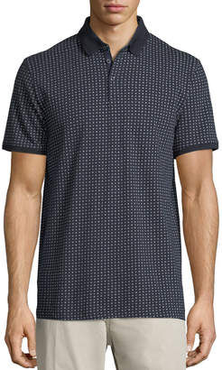 Neiman Marcus Mini-Floral Pique Polo Shirt