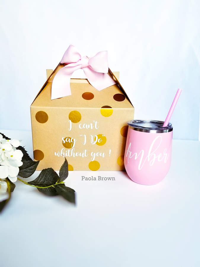 Etsy Personalized Steel Wine Tumbler | Bridesmaid Proposal Gift Box | Bachelorette party | Wine Glass, i