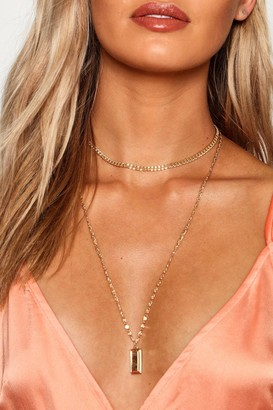 boohoo Chunky Chain And Bar Layered Necklace