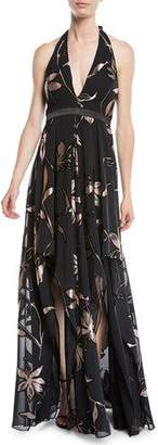 Halston Floral Burnout Gown w/ Double-Slit Front