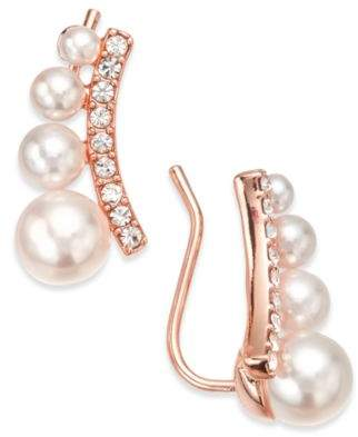 INC International Concepts I.N.C. Rose Gold-Tone Crystal & Imitation Pearl Ear Climber Earrings, Created for Macy's