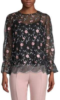 Sheer Embroidery Blouse